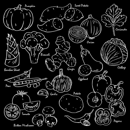 Collection of hand-drawn vegetables and spices in black background.