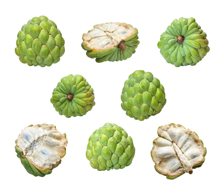 annona: Custard Apple  Sugar Apple isolated on white background.