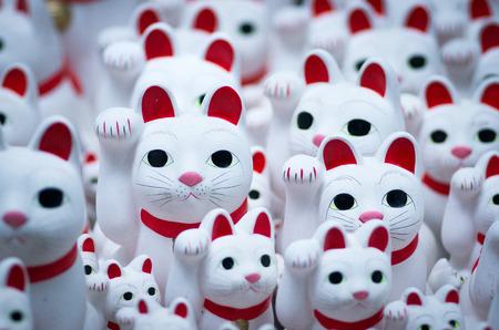 beckoning: Beckoning cats at Gotokuji-temple,setagaya area,tokyo,tourism of japan