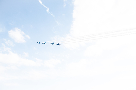 impulse: Blue Impulse at Iruma base,Saitama,tourism of japan Stock Photo