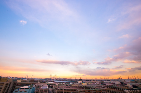 sightseeng: sunset at Minatonomieruoka park,yokohama,kanagawa,japan