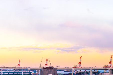 kanagawa: sunset at Minatonomieruoka park,yokohama,kanagawa,japan