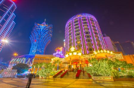 マカオの夜景、中国 報道画像