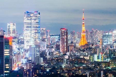 東京タワー夜ビュー、東京、日本