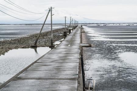 power pole: power pole of tideland,kuamoto,tourism of japan