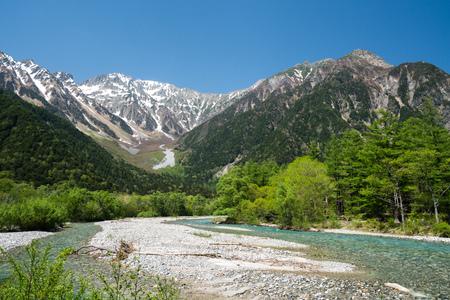 上高地、長野、日本で穂高岳