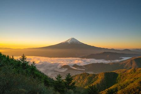 Morning glory Mt.Fuji and sea of clous at Shinmichi-mountain pass,Yamanashi,tourism of Japan
