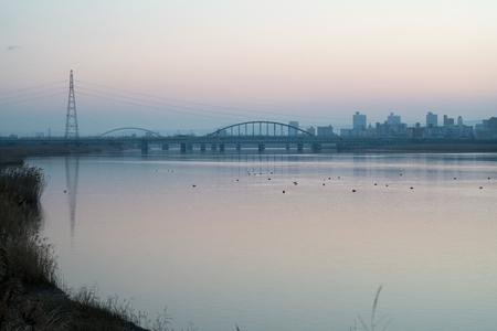 Yodo river and Umeda morning view,Osaka,Japan