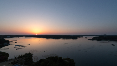 Ago bay in sunrise time,Iseshima area,mie prefecture,tourism of japan
