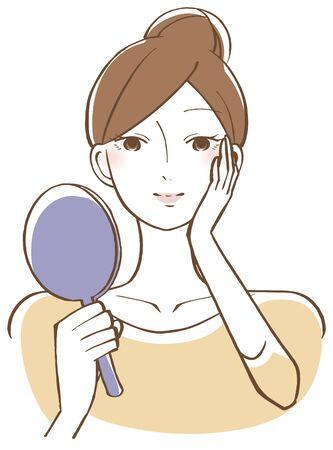 Una donna che si guarda il viso con uno specchio sorridente Vettoriali