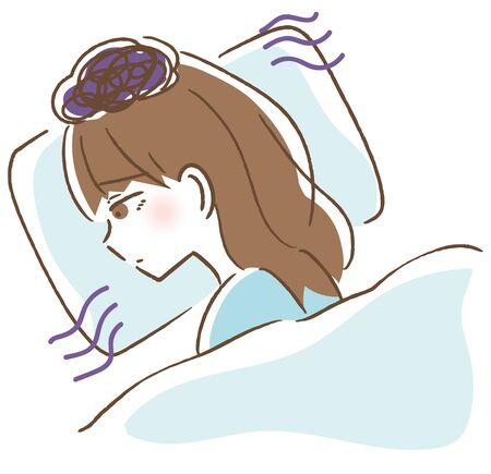 Illustration of a woman who cannot sleep well  vector illustration