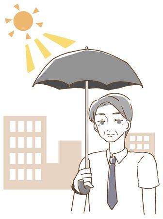 Homme d'âge moyen tenant un parasol Vecteurs