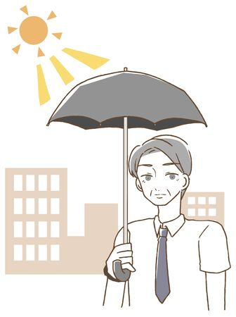 Middle-aged man holding a parasol