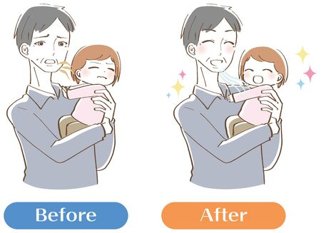Uncle illustration smelling bad breath set