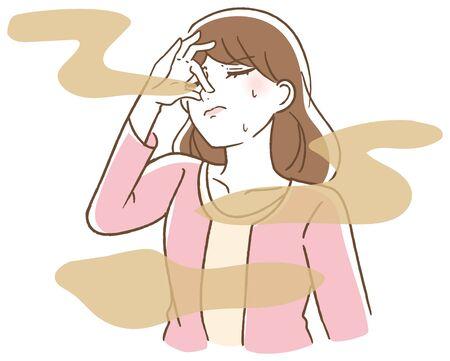 Bad breath woman illustration vector