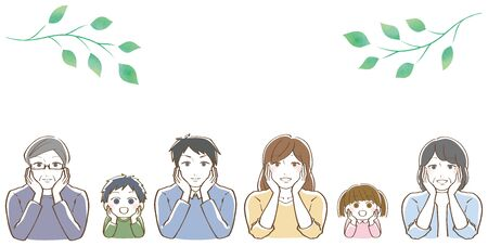 Illustration of a family with a cheek stick-three generations 向量圖像