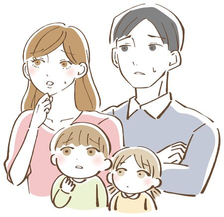 Anxious face family worried illustration Ilustrace