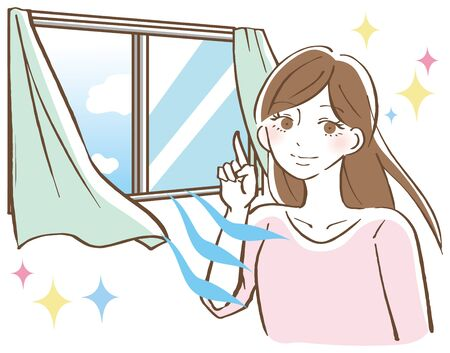 A woman opening the window and ventilating Illustration