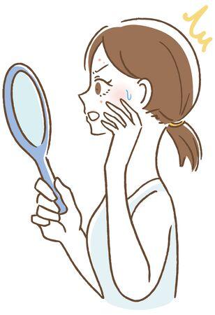 Women who notice acne vector