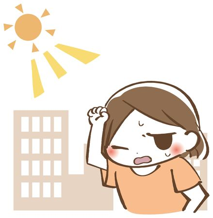 A woman who cares about sunlight 일러스트