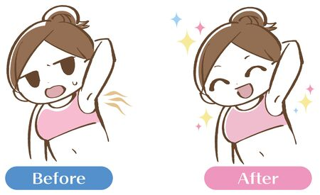 The woman who cares about the smell of the armpits Before after set Vecteurs