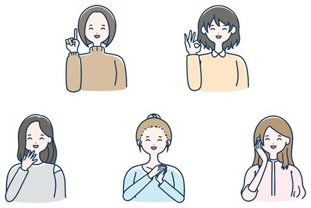 Pointing smile female vector set