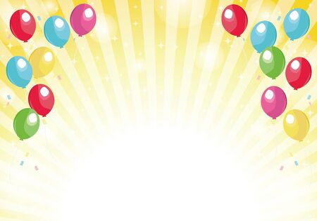 Yellow radial background balloons and glitter background