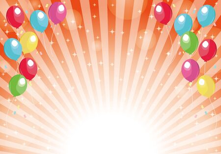 Red radial background balloons and glitter background