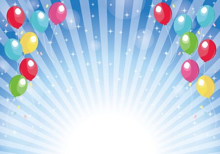 Blue radial background balloons and glitter background