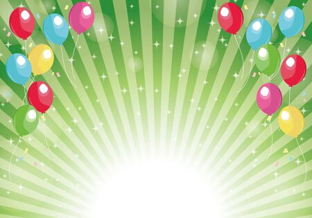 Green radial background balloons and glitter background