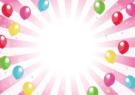 Pink radial background balloons and glitter background