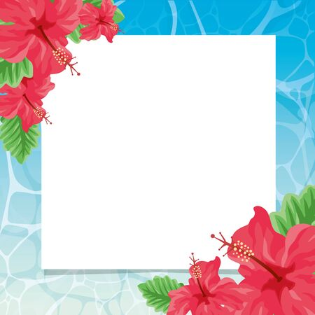 Water surface hibiscus text space material