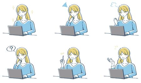 Illustration of a woman operating a computer 向量圖像