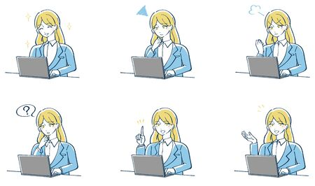 Illustration of a female suit operating a personal computer