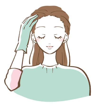 Woman hair coloring coloring hair illustration 版權商用圖片 - 151288138