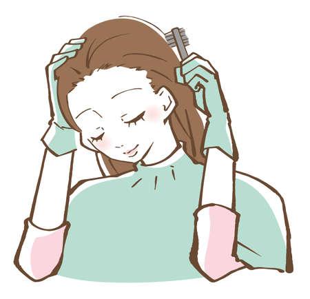 Woman hair coloring coloring hair illustration