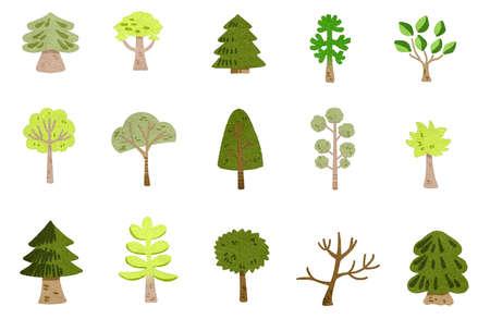 Green tree icons set. Flat illustration green tree vector icons for web 版權商用圖片