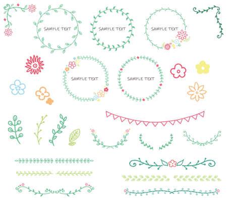 Botanical motif frame set illustration