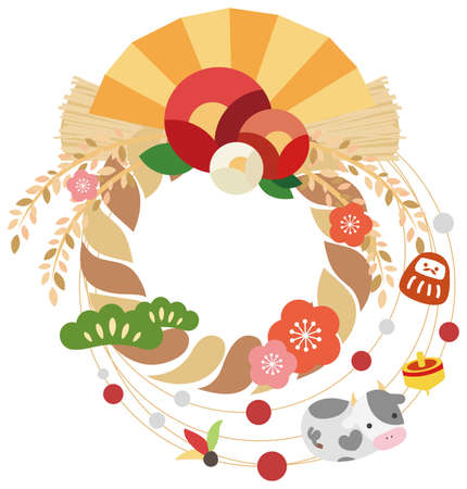 Shimenawa beef new year card vector illustration