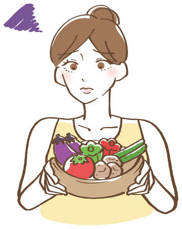 Illustration of a woman with a troubled face with vegetables