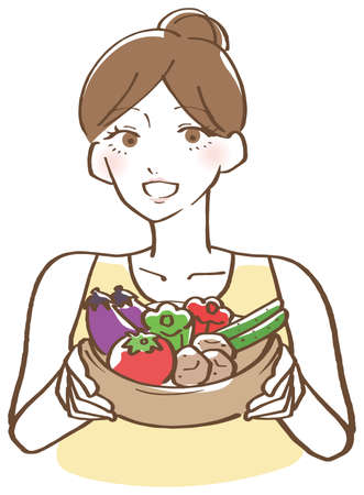 Illustration of a woman holding vegetables 向量圖像