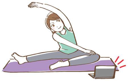 Yoga online fitness woman