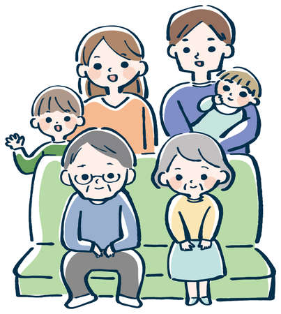 Sit old couple and family vector illustration