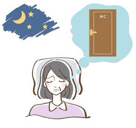 Illustration of a woman who wants to urinate at night