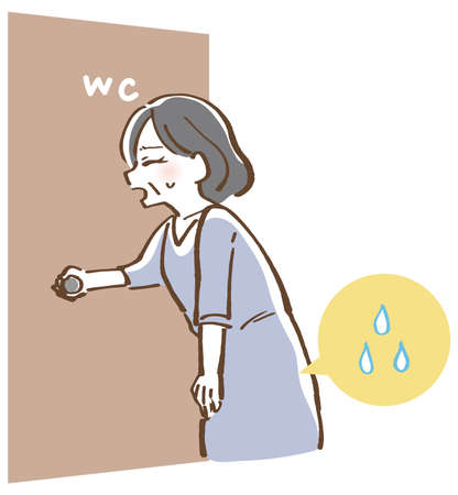 Illustration of a woman who has a desire to urinate 向量圖像