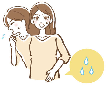 Illustration of a woman who leaks urine the moment she coughs