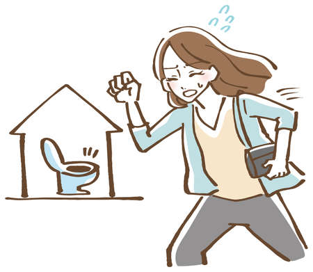 Illustration of a woman running into the toilet