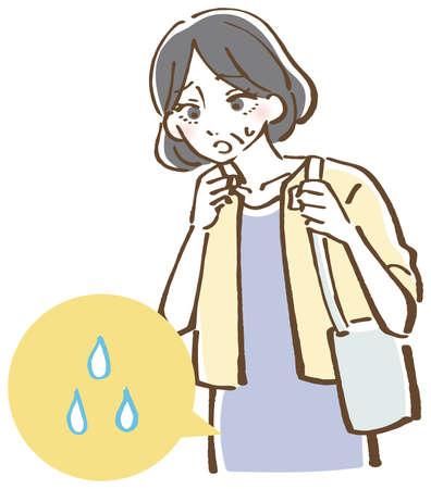 Urine intention, urine leakage, female illustration