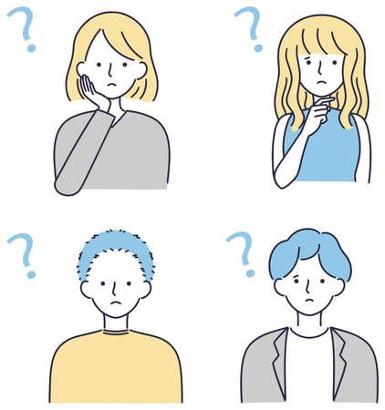 Question Female Male Simple Illustration Set