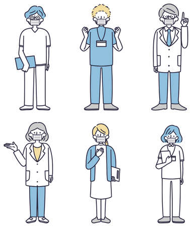 Medical worker mask male and female simple illustration